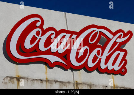 Indianapolis - Circa February 2017: Coca Cola Signage and Logo at IMS. Coke products are among the best selling - Stock Photo