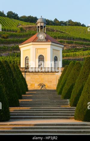 Garden with Belvedere Pavillion, Wackerbarth castle, vineyards, Radebeul near Dresden, Saxony, Germany - Stock Photo