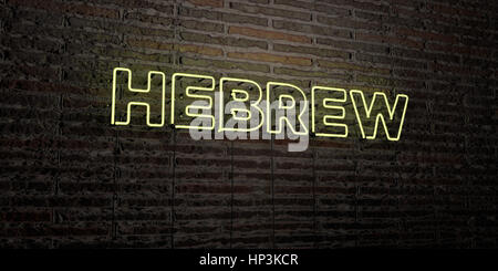 HEBREW -Realistic Neon Sign on Brick Wall background - 3D rendered royalty free stock image. Can be used for online - Stock Photo