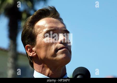 California gubernatorial candidate Arnold Schwarzenegger at a press conference at the Ritz-Carlton hotel in Dana - Stock Photo