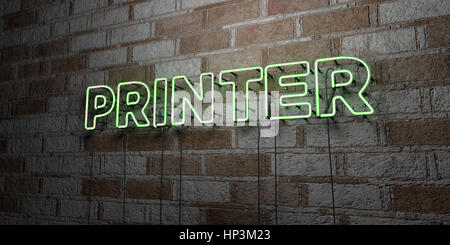 PRINTER - Glowing Neon Sign on stonework wall - 3D rendered royalty free stock illustration.  Can be used for online - Stock Photo