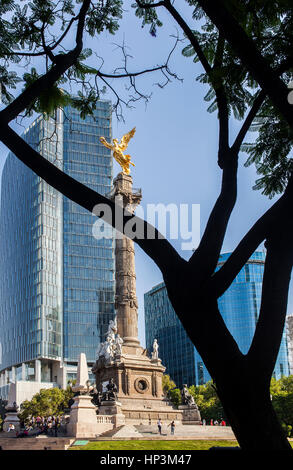 Angel statue, Independence Monument in Avenida de la Reforma, Mexico City, Mexico - Stock Photo