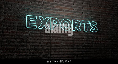 EXPORTS -Realistic Neon Sign on Brick Wall background - 3D rendered royalty free stock image. Can be used for online - Stock Photo