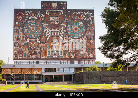 `Representación histórica de la cultura´, mural by Juan O'Gorman on the facade of the library,National Autonomous - Stock Photo