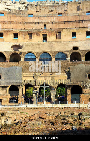 Views of the Roman Colosseum also known as Flavian amphitheatre, Rome, Italy