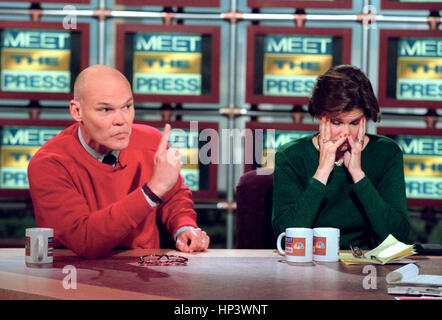 Democratic activist James Carville attacks the Republican Congress for impeaching President Clinton as his wife - Stock Photo