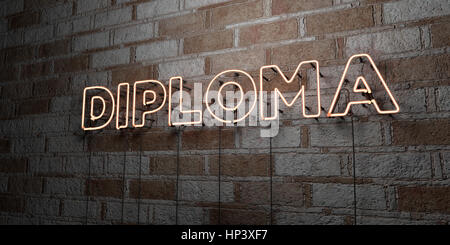 DIPLOMA - Glowing Neon Sign on stonework wall - 3D rendered royalty free stock illustration.  Can be used for online - Stock Photo