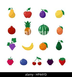 Vector Icons Fruits and Berries in Flat Style Set Isolated over White with Apple, Pear, Banana, Lemon, Cherry, Strawberry, - Stock Photo