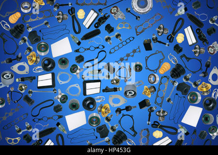 Spare parts car on the blue background Stock Photo