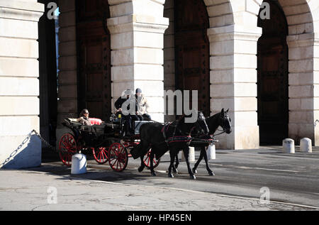horse carriage at Hofburg palace,  Vienna, Austria, Europe - Stock Photo