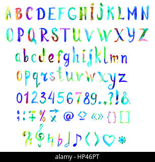 Hand painted, handwritten watercolor font with symbols and numbers, all bright colors of rainbow, isolated - Stock Photo