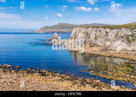 Ashleam Bay seen from Wild Atlantic Way, Achill Island, County Mayo, Ireland, Europe. - Stock Photo
