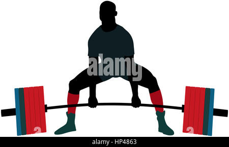 powerlifter exercise barbell deadlift in powerlifting competitions - Stock Photo