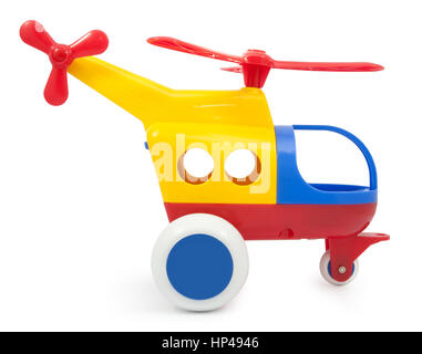 Toy helicopter isolated on white background - Stock Photo