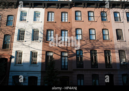 A row of brownstones in the Gramercy Park neighborhood of New York city, NY - Stock Photo