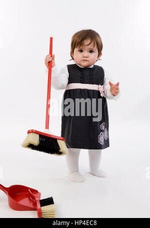 little girl with dusty broom stock photo royalty free image 26624634 alamy. Black Bedroom Furniture Sets. Home Design Ideas