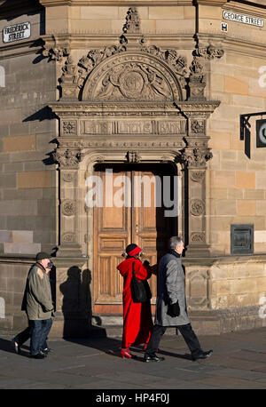 The door to what used to be a branch of the British Linen Bank in George Street, Edinburgh, Scotland, UK. - Stock Photo