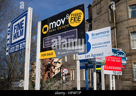 A selection of For sale and To Let signs in Edinburgh, Scotland, UK - Stock Photo
