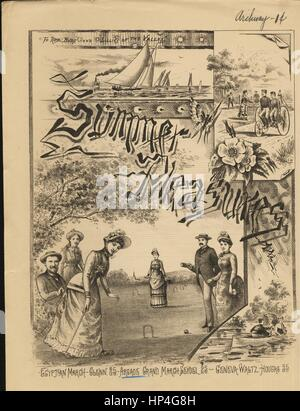 Sheet music cover image of the song 'Summer Pleasures Arcade Grand March', with original authorship notes reading - Stock Photo