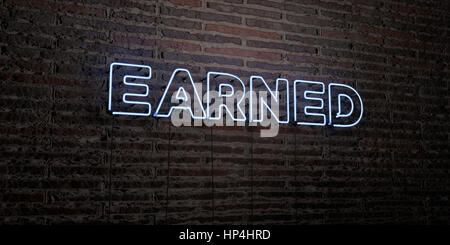 EARNED -Realistic Neon Sign on Brick Wall background - 3D rendered royalty free stock image. Can be used for online - Stock Photo
