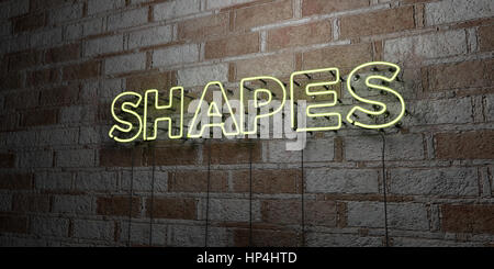 SHAPES - Glowing Neon Sign on stonework wall - 3D rendered royalty free stock illustration.  Can be used for online - Stock Photo