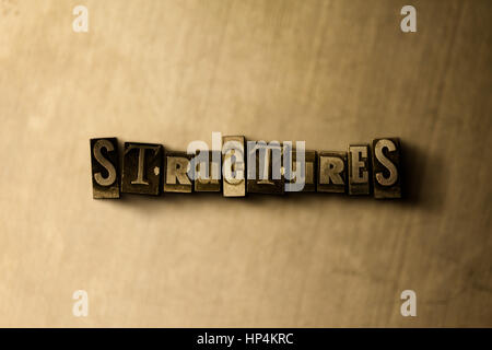 STRUCTURES - close-up of grungy vintage typeset word on metal backdrop. Royalty free stock illustration.  Can be - Stock Photo