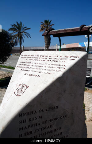 dolphinarium massacre memorial at the Tel Aviv dolphinarium site with the names of the victims written in Russian, - Stock Photo