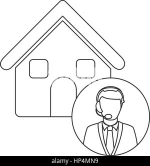monochrome contour house with male customer service - Stock Photo