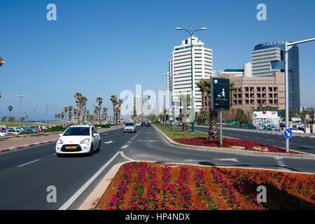 street and boulevard infront of beach, tel aviv, israel - Stock Photo
