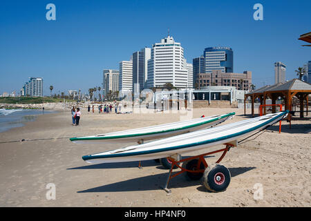 wakeboards parked at beach, tel aviv, israel - Stock Photo