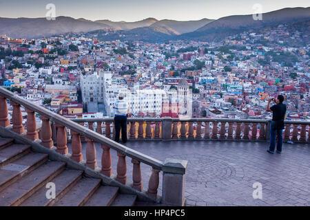 Tourists, View of Guanajuato from the `Mirador el Pipila´, state Guanajuato, Mexico - Stock Photo