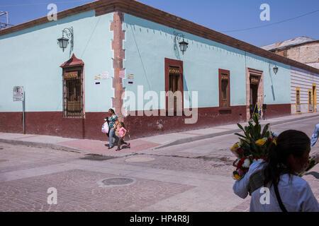 Street scene, Damas street at Guanajuato street, Dolores Hidalgo, Guanajuato State, Mexico - Stock Photo