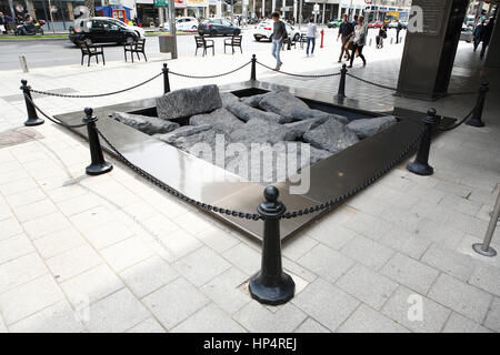 memorial at rabin square (former kings of israel square) where prime minister Yitzhak Rabin was assassinated on - Stock Photo
