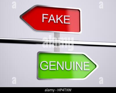 Fake VS Genuine Signs 3d illustration - Stock Photo