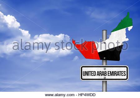 United Arab Emirates - road sign map - Stock Photo