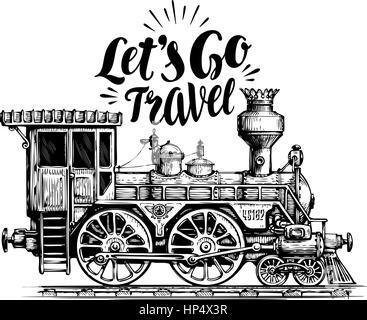 Hand drawn vintage locomotive, steam train, transport. Railway engine vector illustration, sketch - Stock Photo