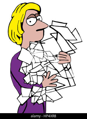 Business illustration of tired businesswoman carrying many loose papers. - Stock Photo