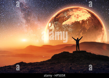 Realistic 3D Earth Lyustration. Courtesy of NASA. Man in Space.  - Stock Photo