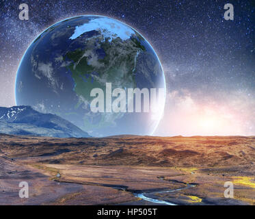 Realistic 3D Earth Lyustration. Courtesy of NASA. Fantastic star - Stock Photo