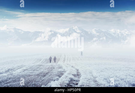 October mountain range in the first winter days - Stock Photo