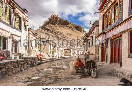 Gyantse Town street in Tibet - Stock Photo