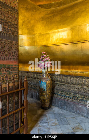 Buddhist temple of the reclining Buddha  (Wat Pho) in Bangkok, Thailand - Stock Photo