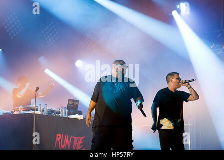 PARIS - AUG 31: Run the Jewels (hip hop band) in concert at Rock En Seine Festival on August 31, 2015 in Paris, - Stock Photo