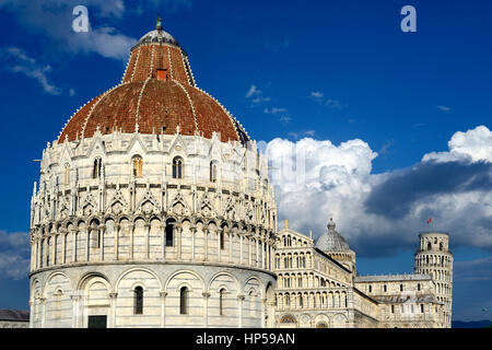 The Baptistery Duomo Leaning Tower Piazza dei Miracoli Pisa Italy - Stock Photo