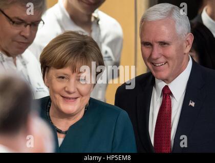 Munich, Germany. 18th Feb, 2017. German Chancellor Angela Merkel and US Vice President Mike Pence spoke at the Munich - Stock Photo