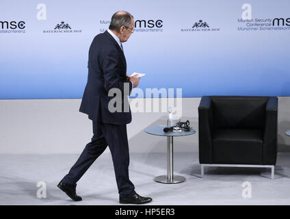 Munich, Germany. 18th Feb, 2017. Russia's Foreign Minister Sergei Lavrov at the 53rd Munich Security Conference. - Stock Photo