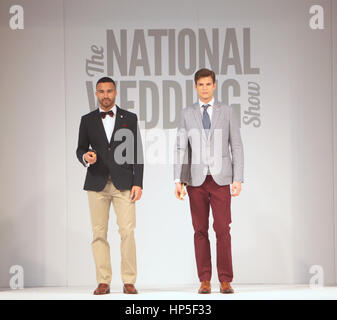 London, UK. 18th Feb, 2017. The Revlon Runway show at the National Wedding show showed the latest in Bride, Groom - Stock Photo