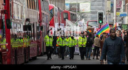 Peckham, London, UK. 18th Feb, 2017. Hundreds marched through Peckham, South London to protest against migrant deportation.David - Stock Photo