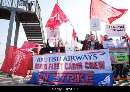London, UK. 18th February, 2017. Striking British Airways mixed fleet cabin crew belonging to the Unite trade union - Stock Photo