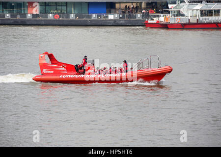 London, UK. 18th Feb, 2017. Visitors enjoy a boat ride along the River Thames Credit: Keith Larby/Alamy Live News - Stock Photo